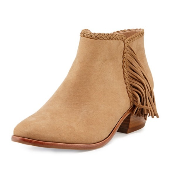 ff1d8ce8b993cd Sam Edelman Paige Suede Fringe Booties in Honey. M 5a774a863afbbd34db422d99
